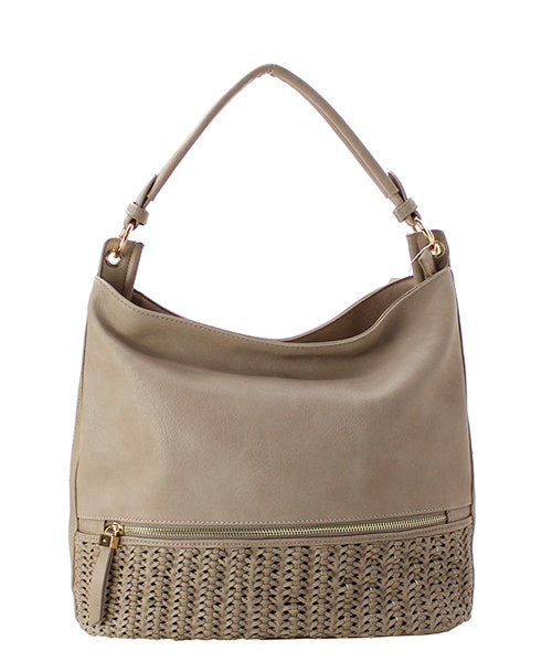 Faux Leather Braided Shoulder Bag Light Stone