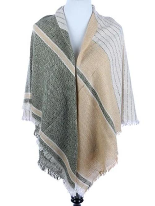 Patterned Soft Yarn Blanket Scarf Green/Beige
