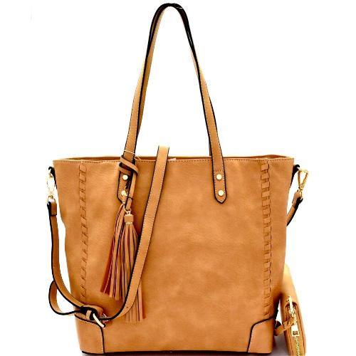 Tassel Accent Whipstitched Tote Set Light Taupe