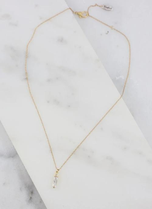 Delta Diamond Bar Necklace Gold