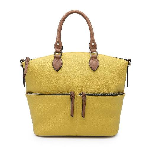 Front Zippered Pocket Satchel Lemon