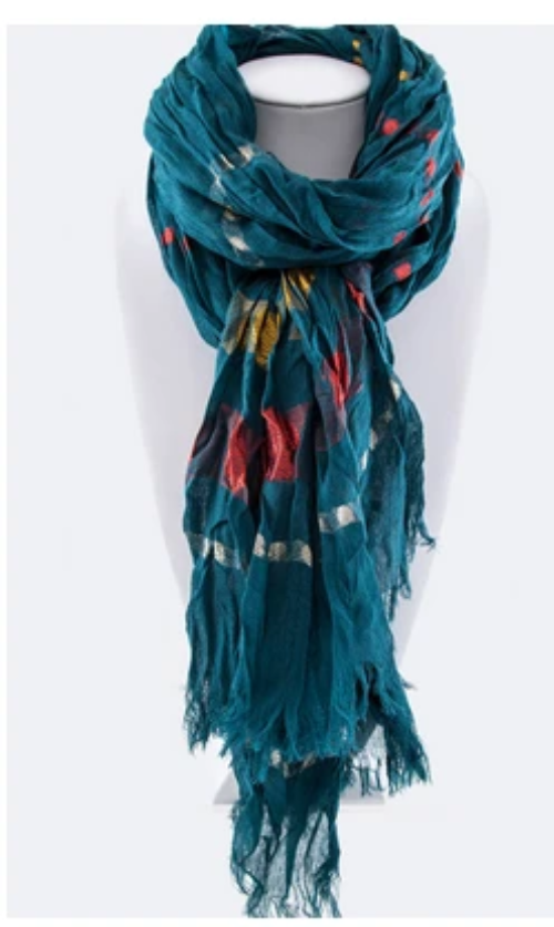 Lurex Striped Crinkle Scarf