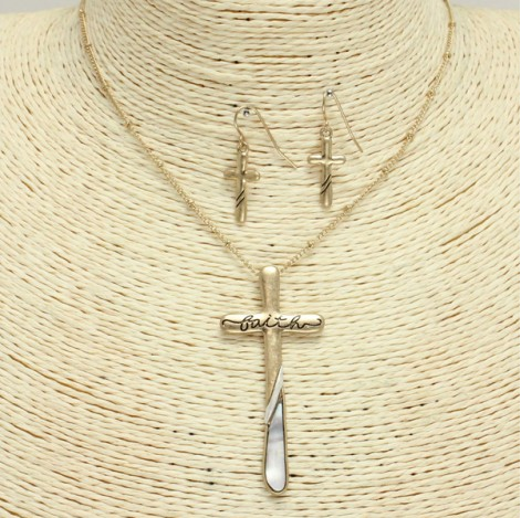 Faith Cross Necklace Set
