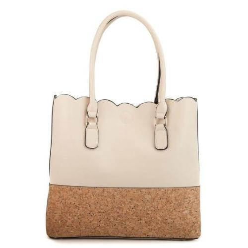 Scallop Top Cork 2 in 1 Handbag Beige