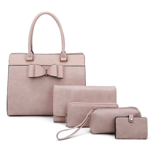 Bow Accent 5-in-1 Handbag Set