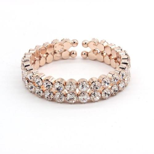 Double Rhinestone Bracelet Rose Gold