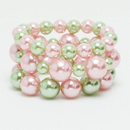 3-Piece Pearl Stretch Bracelet Pink/Green