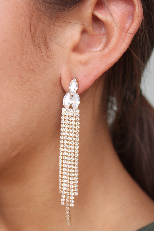 Val Rhinestone Post Drop Earring Gold