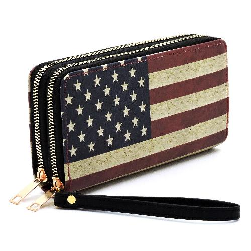 U.S. Flag Double Zip Around Wallet/Wristlet