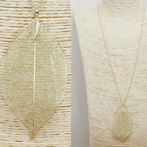 Real Aspen Leaf Pendant Necklace Gold