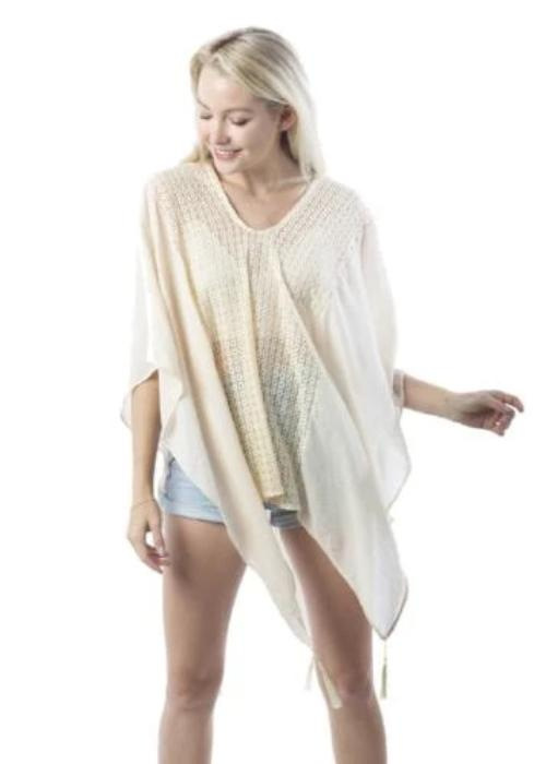 Center Lace Poncho with Tassels Ivory