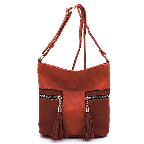 Suede Colorblock Tassel Zip Crossbody Orange
