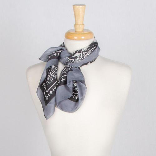 Silky Bandana Scarf with Bordered Trim