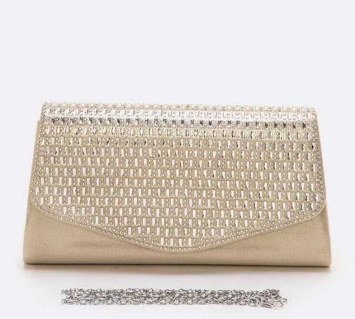 Crystal Flap Champagne Satin Clutch Gold