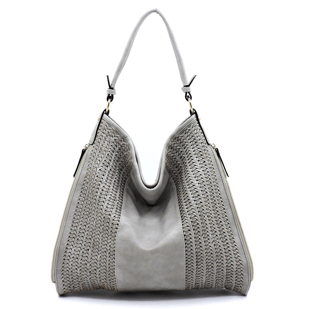 Woven Block Shoulder Bag Grey