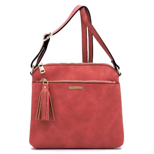 Fashion Tassel Zipper Crossbody Coral