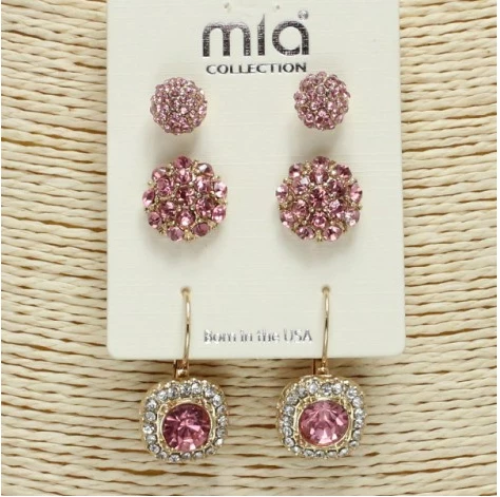 Gold/Pink Stud Earring Set