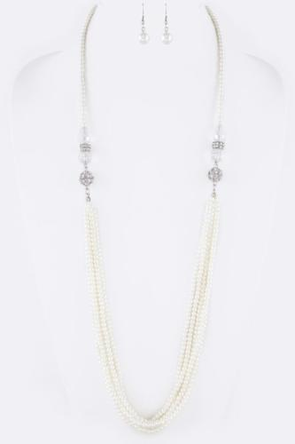 2-in1 Magnetic Convertible Crystal Necklace Set Pearl
