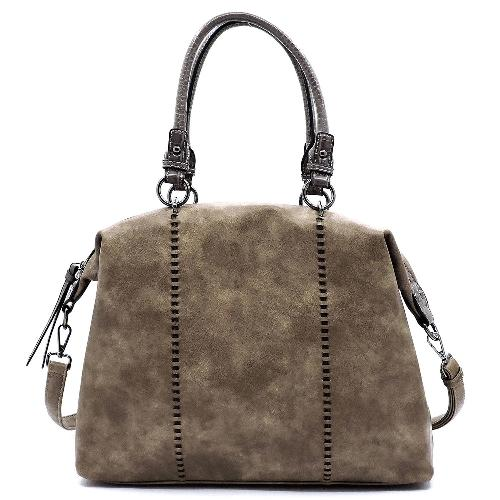 Croc Trimmed Top Handle Satchel Stone/Dark Grey