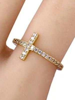 Cross Ring Gold/Rhinestone Accent