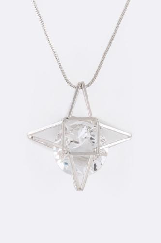 CZ Floating Star Pendant Silver