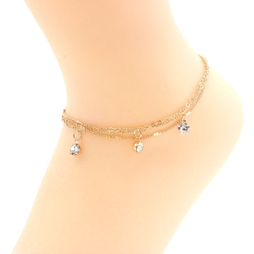 Double Strand Crystal Accented Ankle Bracelet Gold