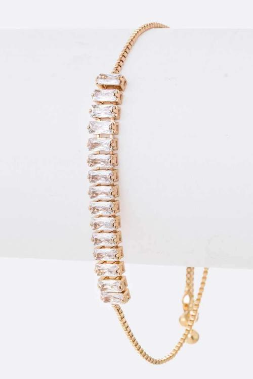 CZ Pull Through Adjustable Bracelet Gold