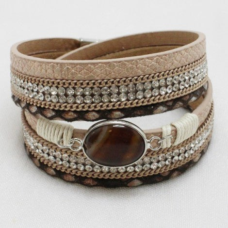 Silver & Brown Leather Bracelet