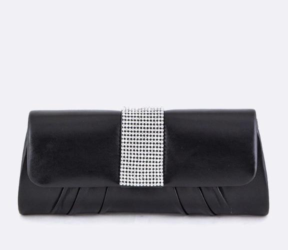 Crystal Flap Evening Clutch Black
