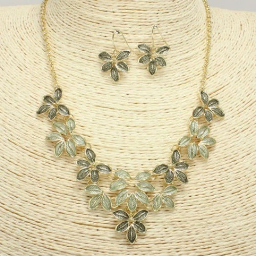 Trendy Leaves Necklace Set Green