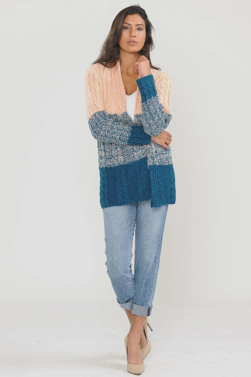 Cable Knit Cardigan Blush