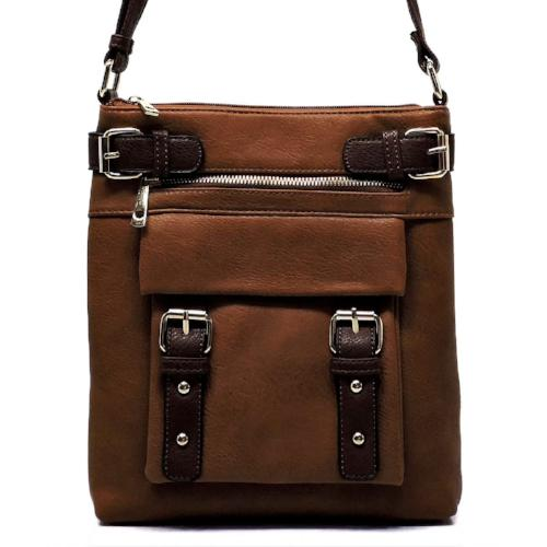 Two-Toned Belt Concealed Carry Crossbody Tan/Brown