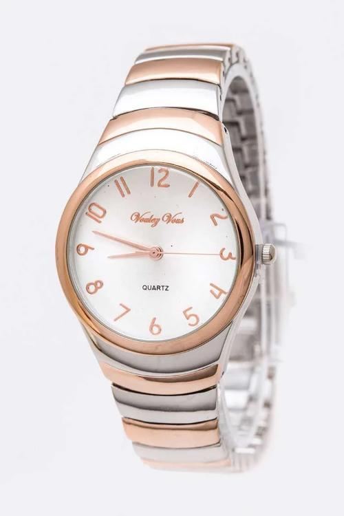 Classic Dial Fashion Watch Silver/Rose Gold