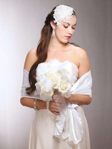 Reversible Two-Tone Bridal Wrap in White & Ivory