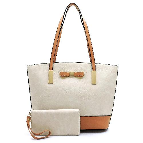 Bow Accent Colorblock 2-in-1 Shopper Beige/Tan