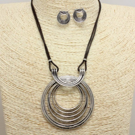 Antique Silver & Brown Necklace Set