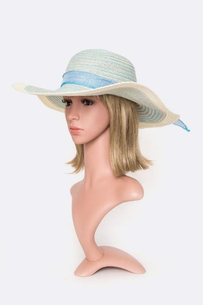 Two Tone Straw Floppy Hat Mint