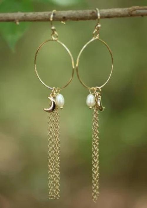 Moonsping Tassel, Pearl and Charm Hoops Gold