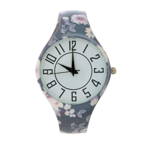 Large Face Floral Cuff Watch Blue