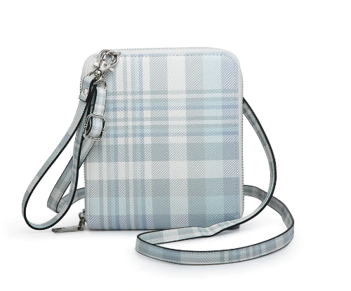 RFID Wallet/Crossbody Neutral Plaid