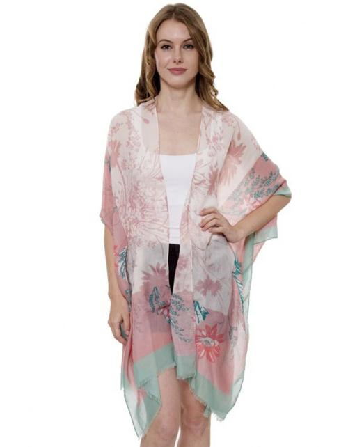 Floral Kimono with Solid Color Hem Pink