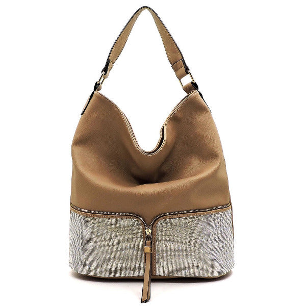 Rhinestone Colorblock Shoulder Bag Taupe