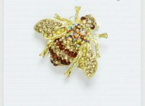 Rhinestone Bee Brooch Gold