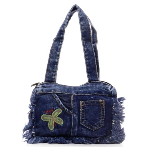 Washed Denim Mini Tote Butterfly