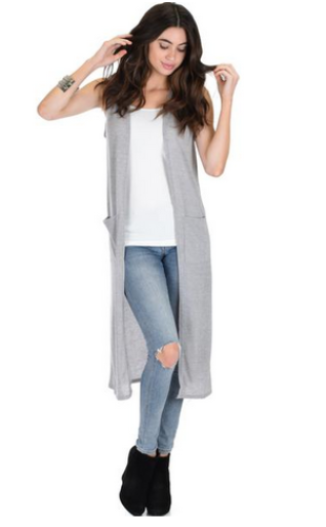 Long-line Black Cardigan Vest With Pockets