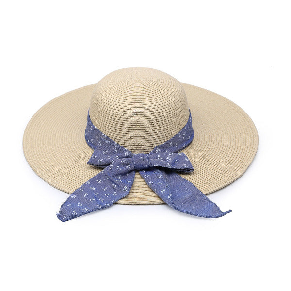 Natural Seagrass Hat w/Blue Ribbon Tan