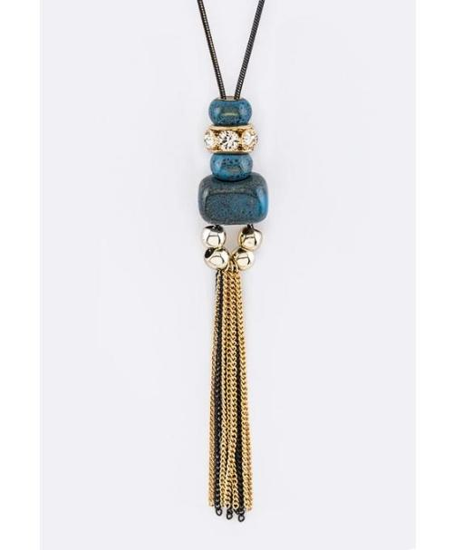 Mix Beads & Fringe Chains Pendant Necklace Set Blue