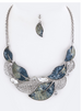 Crystal & Metal Leaf Statement Necklace Set Blue