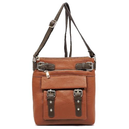 Two-Tone Buckle Crossbody Brown
