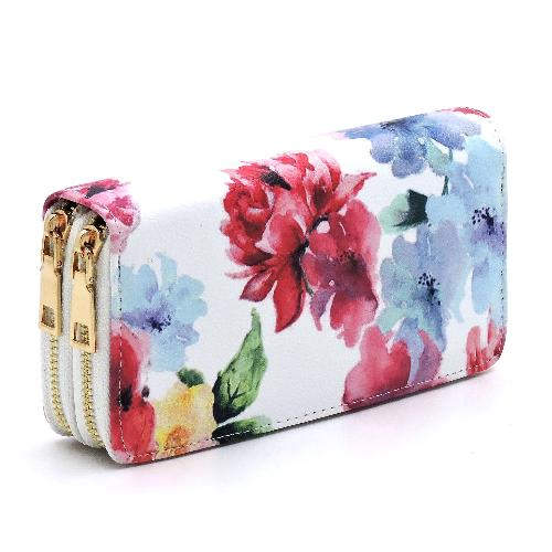 Flower Printed Double Zip Wallet White/Pink